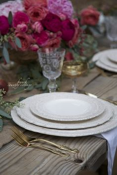 Romantic Thanksgiving table setting - FRENCH COUNTRY COTTAGE