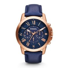Grant Men's Watch, Navy Leather Strap and Rose Gold - Fossil