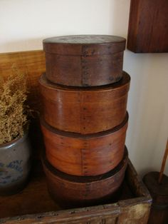 EARLY ANTIQUE PRIMITIVE OLD PANTRY BOX WOODEN SHAKER BENTWOOD  1800'S