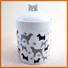 Porcelain Pet Dog Treat/Food Container (New) Ceramic Storage Jar Holder Canister #Feeders