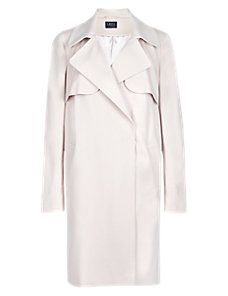 Buttermilk Buttonsafe™ Double Breasted Flap Coat with Stormwear™ Great if slight cheated. Straight Bodyline but could add own belt - to be shaped