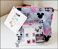 Zipper cosmetic bags and mickey ear buds from Mama Hold You blog