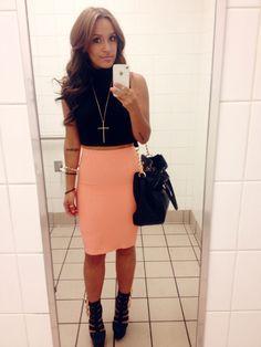 Black crop top x peach pencil skirt.