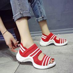 Fashion Summer Sport-sandals Shoes lady's Student Sandals Open Toe knitting Open Toe Sandals, Wedge Sandals, Shoes Sandals, Women Sandals, Sneakers Fashion, Fashion Shoes, Espadrilles, Beach Shoes, Beach Sandals