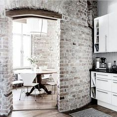 exposed bricks and wooden floors