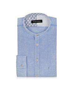 Forzieri Light Blue Linen Mandarin Collar Shirt 15-3/4 35-36 at FORZIERI Canada