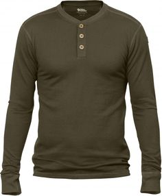 Love this piece: Fjällräven Lappland Merino Henley.  Light, soft, long-sleeved top in Merino wool with corozo buttons at the neck. Wicks away moisture and warms without itching.