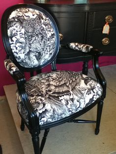 Love this pattern - Vintage Louis chair upholstered in black by redesignrestoration