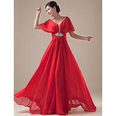 Formal+Evening+/+Holiday+/+Company+Party+/+Family+Gathering+Dress+-+Open+Back+/+Elegant+A-line+V-neck+Floor-length+Chiffon+with+Beading+–+AUD+$+85.79