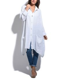 Take a look at this Lin Pour L'autre White Button-Up Linen Tunic today!