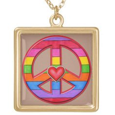 Rainbow-Striped Peace Sign Gold Plated Necklace Emo, Gypsy, Peace Sign Necklace, Gold Plated Necklace, Black Felt, Fourth Of July, Halloween Diy, Fathers Day Gifts, Diy Gifts