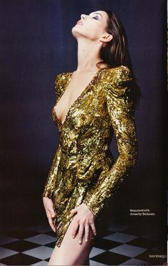 Anne Hathaway in gold Balmain - Elle UK by David Slijper, December 2010