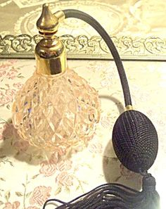 Vintage Pink Glass Perfume Atomizer Vanity Bottle