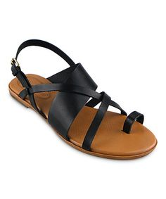 Look what I found on #zulily! Black Carnival Leather Sandal #zulilyfinds