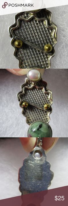 """Ruby zoisite """"Balance"""" pendant pearl silver Ruby zoisite """"Balance"""" pendant with pearl sterling silver & gold vermeil.  Measures 2 inches x 1/2 inch, a round ruby zoisite sets under a silver bar representing balance, with two gold wash vermeil balls, topped with a pearl. The symmetry in this reminds us to always balance the truly important things in our lives. Jewelry Necklaces"""