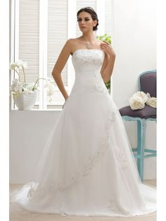 Timeless A-Line Chapel Train Strapless Appliques Taline's Wedding Dress