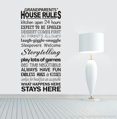 Find More Wall Stickers Information about 2015 New Grandparents' House Rules Modren Romantic Word Quote Wall Decal Sticker Wall Lettering Wall Art  55x110cm,High Quality wall art sticker,China wall art canvas painting Suppliers, Cheap art deco sticker from SIA Wall Sticker on Aliexpress.com