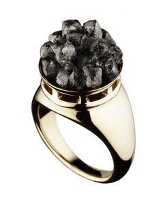 Hattie Rickards 'Exposed' 18k fair-mined gold and rough diamond ring.
