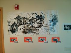Fall 2013 Art Show @ Sandcastle Preschool; hand print spiders and collaborative spider web painting