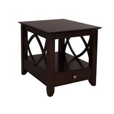 23'' H x 27'' W x 23'' D A subtle stage for any display, this effortlessly elegant and understated end table adds a dash of definition to your living room or den ensemble. Set it down next to a linen-upholstered sofa or gently tufted arm chair in the living room to complement its glossy dark mocha finish, then set down an earthy paisley or trellis rug below to complete the look. Once your space is arranged, start dressing this design with your own personal style. Stack it with your favorite…