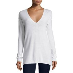 Joie Agnia Cashmere V-Neck Sweater ($178) ❤ liked on Polyvore featuring tops, sweaters, white, women's apparel sweaters, white cashmere sweater, white long sleeve top, v neck sweater, white long sleeve sweater and cashmere v-neck sweater