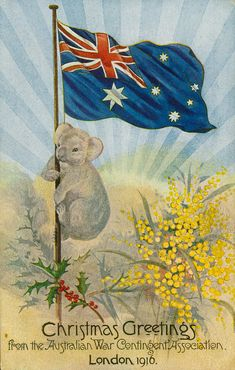 Postcard with an image of a koala climbing a flag pole which has the Australian … – Christmas Bloğ Christmas Greetings, Christmas Cards, Christmas Ideas, Merry Christmas, Australian Christmas, Australian Flags, Anzac Day, National Symbols, Puzzle