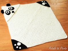 Panda Hooded Baby Towel with Attached Mitts - $4.50 by Kara Gunza of Petals to Picots
