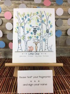 Gender neutral woodland Thumbprint tree guest book, birch tree baby shower, woodland animals, forest animals, owl fox bunny buck and raccoon – 2019 - Baby Shower Diy Baby Shower Fingerprint, Fingerprint Tree, Baby Shower Thumbprint Guest Book, Woodland Theme, Woodland Animals, Woodland Creatures, Forest Animals, Woodland Baby, Guest Book Tree