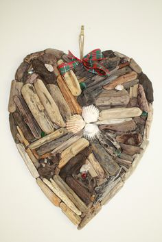 Driftwood Heart with Shells