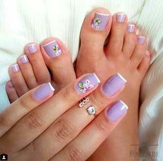 Matching lavender french with florals. Cute Toe Nails, Toe Nail Art, Pretty Nails, Acrylic Nails, Gel Nail, Hair And Nails, My Nails, Toe Nail Designs, Nail Shop