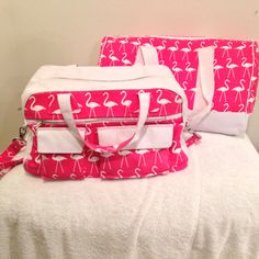 The first two bags I ever made.... My Duffel bag and Weekender bag... Flamingo luggage, I don't see the downside here!