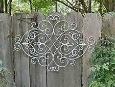 White Shabby Chic Metal Wall Decor/ Fleur De Lis / Wrought Iron Wall decor…