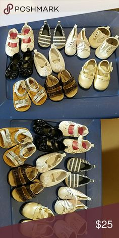 Lot of baby shoes 9 pairs Nice baby shoes variety size 0-2 or 0-6 mos. Old navy, children's place, h&m, etc. The old navy tennis shoes have a stain on them but the rest are in excellent condition. Shoes