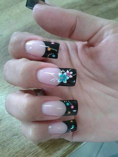 Flower Nail Designs, Long Nail Designs, Cute Nail Designs, Acrylic Nail Designs, Christnas Nails, French Manicure Nails, Gel Nails, Clear Acrylic Nails, Flower Nails