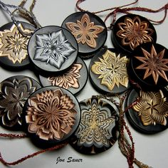 Blackwood disks decorated on the Rose Engine Lathe Small Plants, Lathe, Wood Turning, Victorian Era, Carving, Candles, Ornaments, Rose, Engine