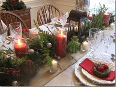 christmas lanterns and dinning room table | ... PLATE ADDICT: My Rustic Christmas Tablescape...Evergreens and Burlap
