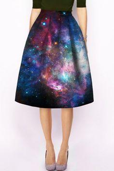 Stylish High-Waisted Galaxy Printed Women's Skirt