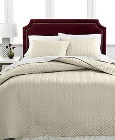 Charter Club Damask Collection Herringbone Pima Cotton Twin Quilted Bedspread Set, Only at Macy's - Taupe Bedding, Damask Bedding, Quilt Bedding, Luxury Bedding, Textured Bedding, Herringbone Quilt, Quilted Bedspreads, Twin Quilt, Queen Comforter Sets