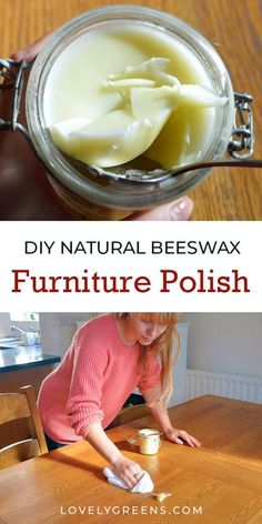 How to make simple and natural beeswax furniture polish using just 2 ingredients. It's easy to make and is a great addition to a natural and zero-waste home Cleaning Wood, Household Cleaning Tips, Cleaning Recipes, Household Cleaners, Cleaning Hacks, Beeswax Furniture Polish, Beeswax Polish, Homemade Furniture Polish, Beeswax Recipes
