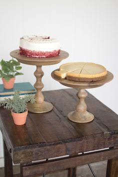 Kalalou Wooden Cake Stand