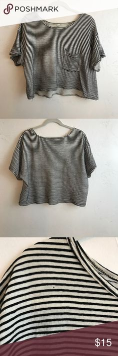 Drapey Ribbed Tee Cropped and boxy tee in a lightweight black and white ribbed knit. Breast pocket detail. Small hole (pictured) on collarbone. Reflected in price. Will come freshly laundered American Apparel Tops Crop Tops