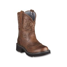 Ariat Fatbaby Saddle  Boots ($110) ❤ liked on Polyvore featuring shoes, boots, men, russet rebel, slipon boots, cowgirl boots, slip on shoes, slip on boots and ariat shoes