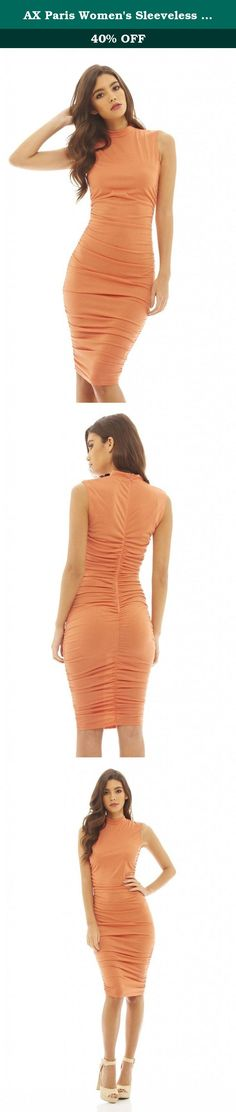 AX Paris Women's Sleeveless Ruched Midi Dress(Peach, Size:6). This peach coloured midi dress with its high neck and all over ruching is a must have for any girls wardrobe! This sleeveless bodycon style will show off your curves and look perfect teamed with some lace up heels and a statement clutch this season.