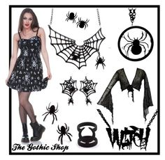 """""""Spider"""" by thegothicshop on Polyvore featuring women's clothing, women, female, woman, misses, juniors, jawbreaker, darkstar, Curiology and cherryloco"""