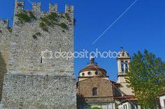 Basilica of Santa Maria delle Carceri and Emperor Castle, Prato, Tuscany, Italy — Stock Photo