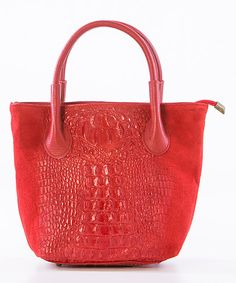 Look what I found on #zulily! Red Crocodile-Embossed Leather Satchel by Lucca Baldi #zulilyfinds