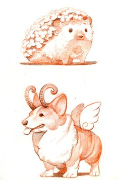 Animal Drawings Summer Sketch Book 2016 on Behance - Mythological Creatures, Fantasy Creatures, Drawing Mythical Creatures, Magical Creatures, Beautiful Creatures, Cute Animal Drawings, Cute Drawings, Creature Drawings, Creature Design