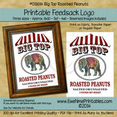 Printable Feedsack Logo - Big Top Peanuts - PDF File