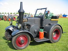 """steampunkvehicles:  """" The Lanz Bulldog is an amazing machine. It's 1-cylinder motor was designed to run on low-grade waste oil from farms. You start it by hanging a lantern on the front to heat up the head enough to cause the fuel to ignite when..."""