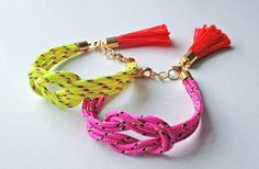 love knot / rope jewelry  Neon yellow knot rope bracelet with tassel charm by AlmostDone, $10.00